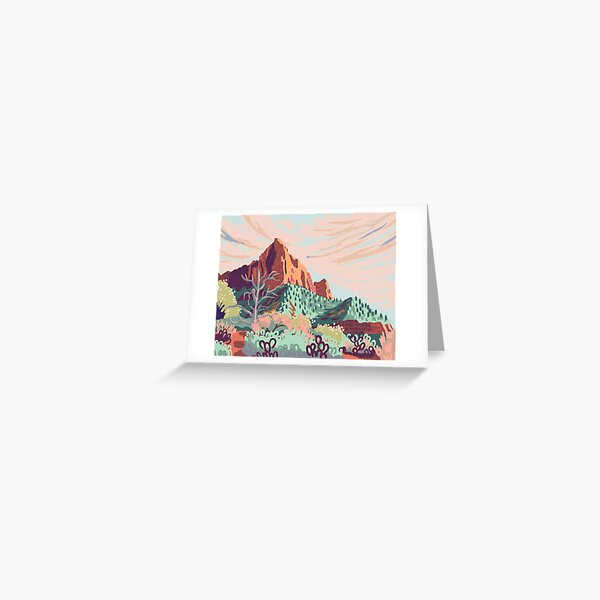Pastel Rainbow Watchman in Zion National Park Painting Greeting Card