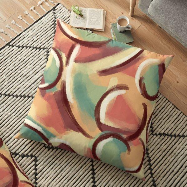Abstract in Warm Autumn Tones Floor Pillow