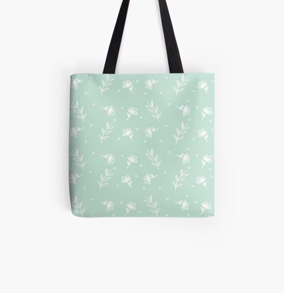 Floral - Pale Green All Over Print Tote Bag