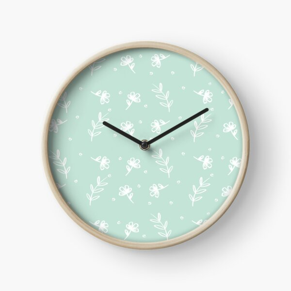 Floral - Pale Green Clock