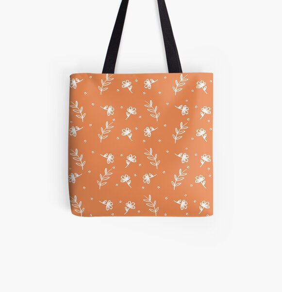 Floral - Rust All Over Print Tote Bag