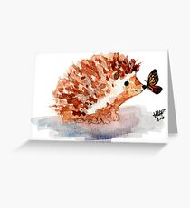 Hedgehog and Butterfly Kisses Greeting Card