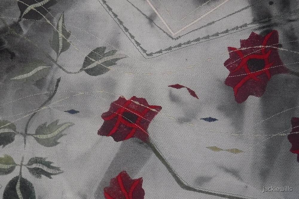 Red Poppies and Leaves.  Print of Embroidered Textile by jackiewills