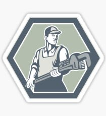 Plumber Holding Plumbing Wrench Retro Sticker