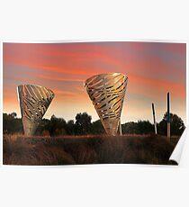 Sunset At Water Dance Sculptures Poster
