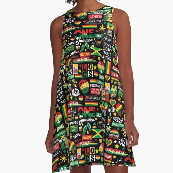 Jamaica One Love Culture Pattern A-Line Dress
