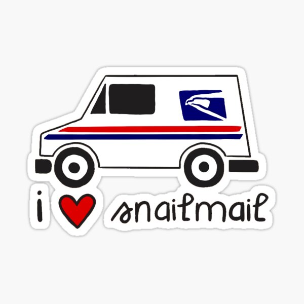 USPS Mail Truck I Love Snail Mail Sticker