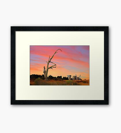 Sunset At Water Dance Sculptures Framed Print