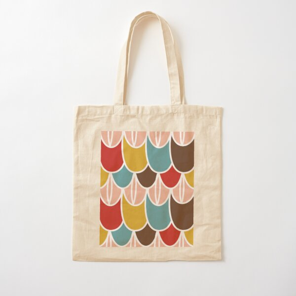 """Southwestern Scale Stripe"" Graphic Pink Red Snake Skin Designer Print Cotton Tote Bag"