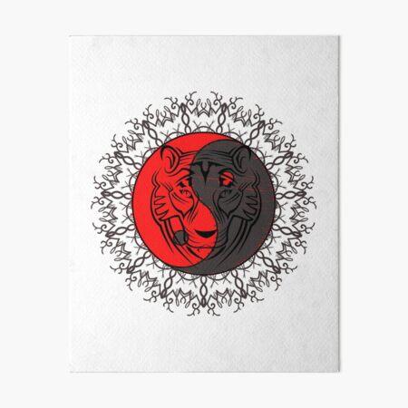 Tiger face on yin yang Art Board Print