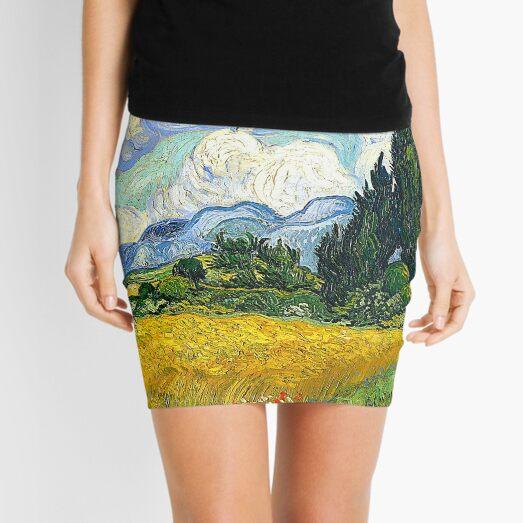 Wheat Field with Cypresses - Van Gogh Mini Skirt