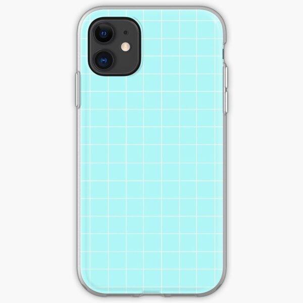 light blue grid iPhone Soft Case