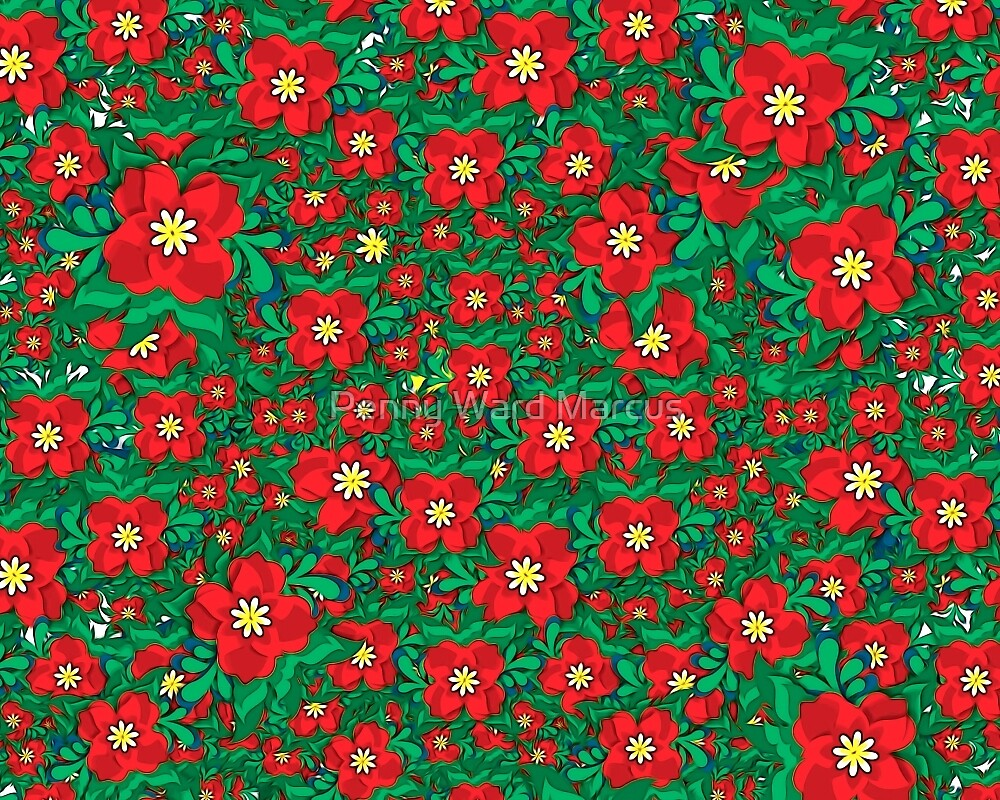 Red and Green Flowers by Penny Ward Marcus