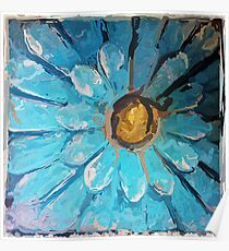 Blue and Gold Metal Daisy III Poster