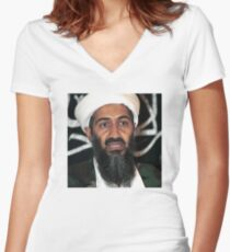 osama bun laden edgy shirt Women's Fitted V-Neck T-Shirt