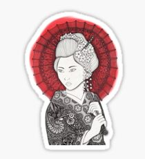 Bandera japonesa y geisha Pegatina