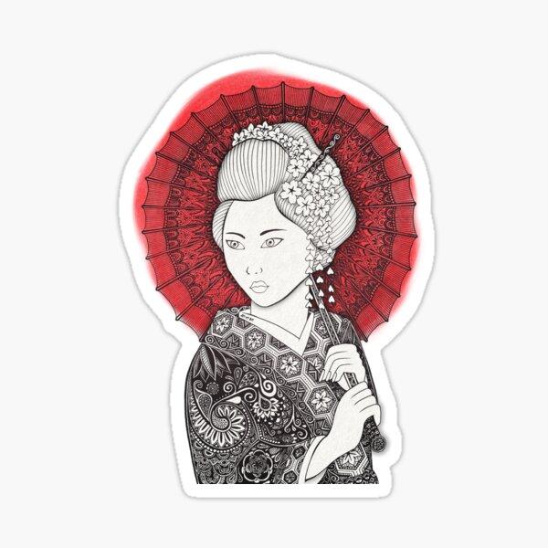 Drapeau japonais et Geisha Sticker