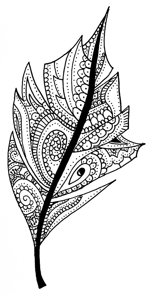 Zentangle Feather Balck and White Design by art-and-soul