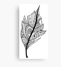 Zentangle Feather Balck and White Design Canvas Print