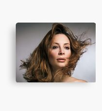 Beauty portrait of woman with flying hair art photo print Canvas Print