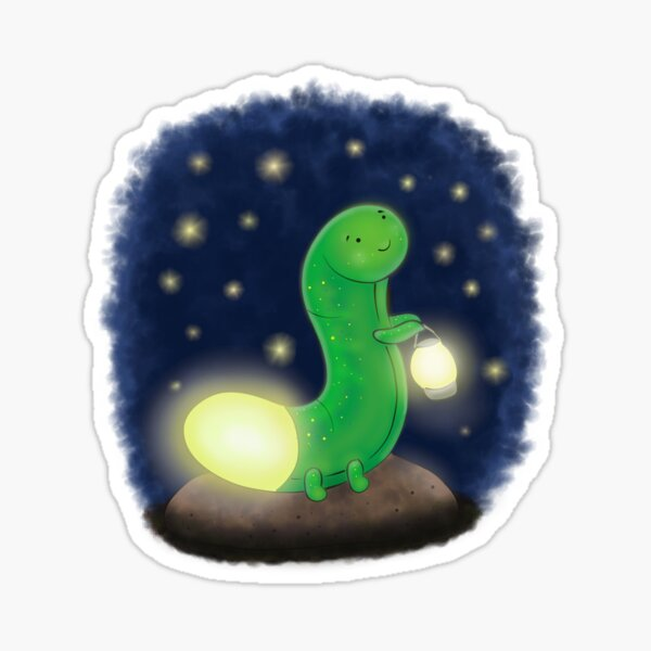Cute green glow worm with lantern cartoon illustration Sticker