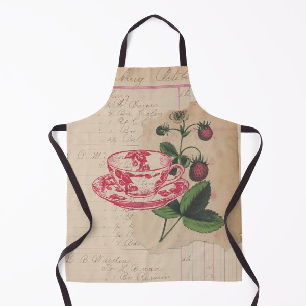 Mixed Media Art Berries Teacup Antique Handwritten Ledger Paper Collage Apron