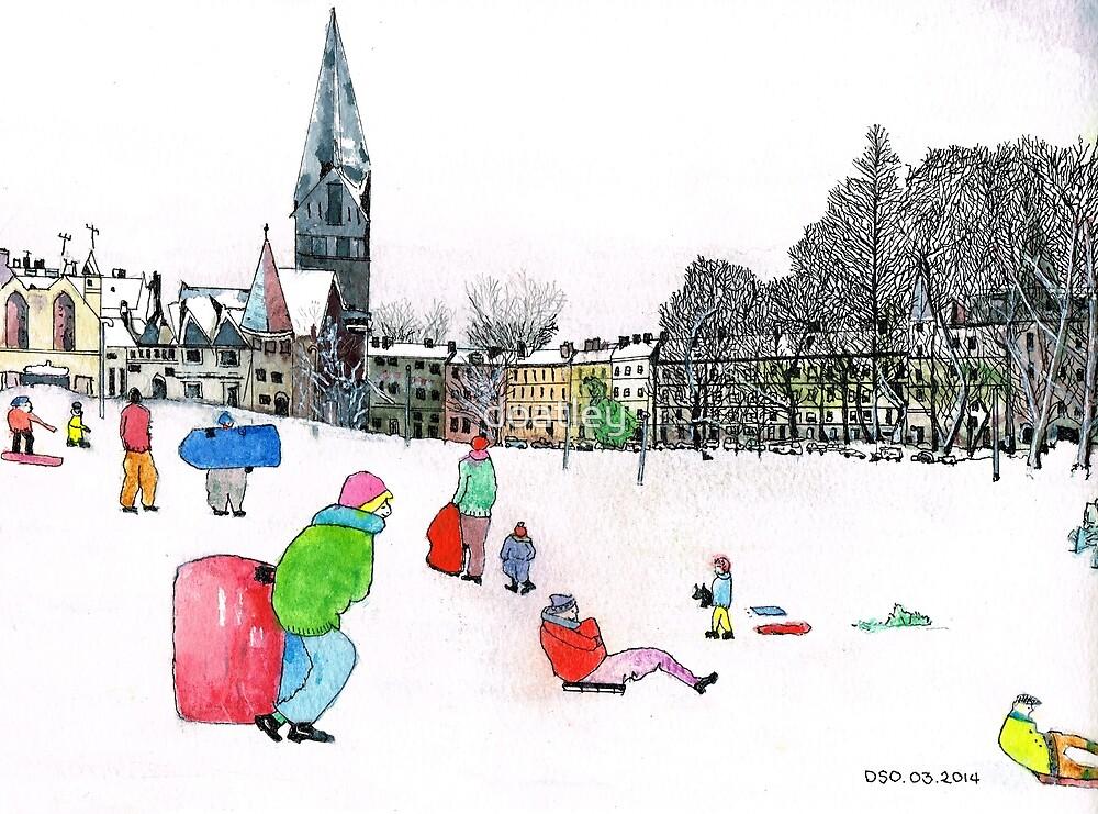 Edinbrough Tobogganing Snow Scene 3 by doatley