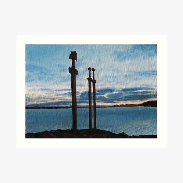 Three Swords at Stavanger - Norway / Oil painting Art Print