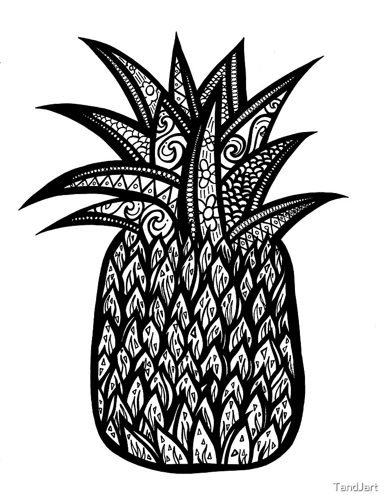Pineapple black and white by TandJart