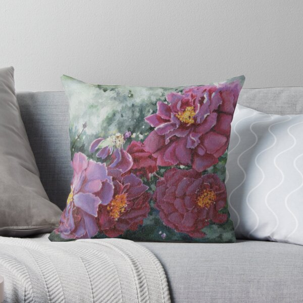 Mauve Rose Blossoms Original Artwork Painting Throw Pillow