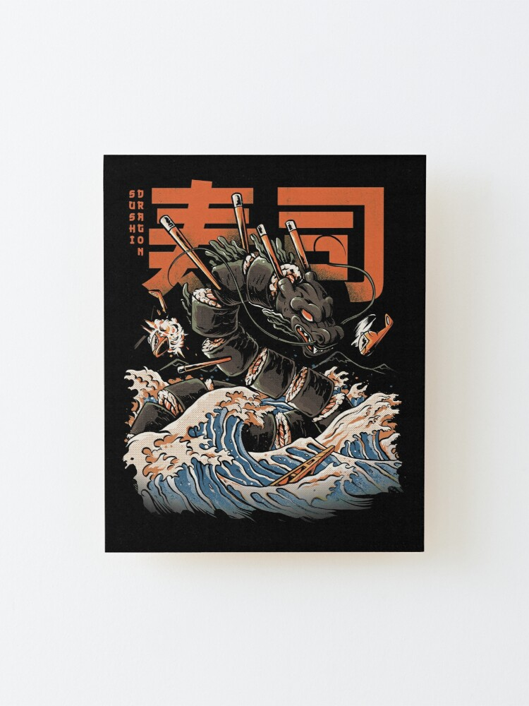Alternate view of The Black Sushi Dragon Mounted Print