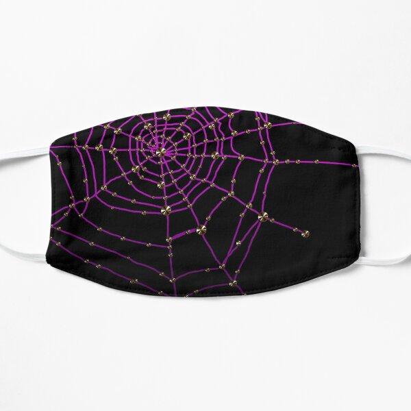 Gothic spider web purple glitter Halloween cobwebs gold rhinestones glamor goth Flat Mask
