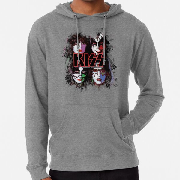 KISS ® the Band - All Members Faces brush effect Lightweight Hoodie