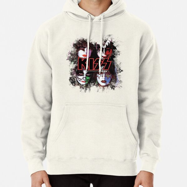 KISS ® the Band - All Members Faces brush effect Pullover Hoodie
