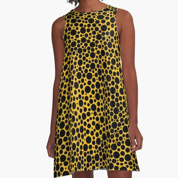 Black polka dots on yellow background A-Line Dress