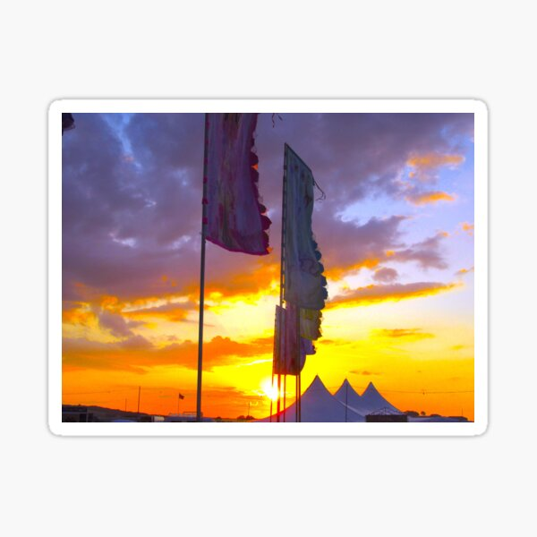 LINDISFARNE MUSIC FESTIVAL Flags In Sunset Sticker