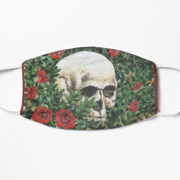 Cemetery Skull and Roses Halloween Celebration Flat Mask
