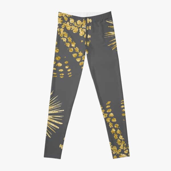 Abstract Gold Sea Urchins Pattern on Grey Leggings