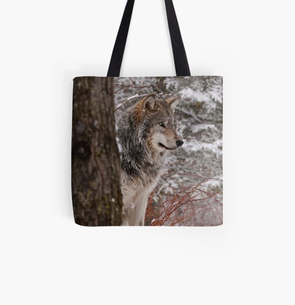 Timber Wolf All Over Print Tote Bag