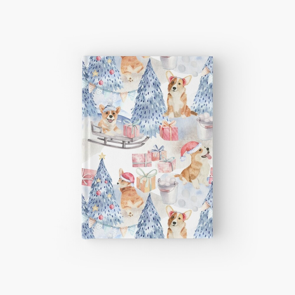 Merry Corgmess - Corgi Celebrating Christmas In Forest Pattern -  Hardcover Journal