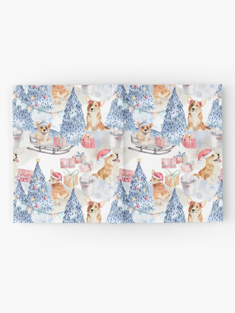 Alternate view of Merry Corgmess - Corgi Celebrating Christmas In Forest Pattern -  Hardcover Journal