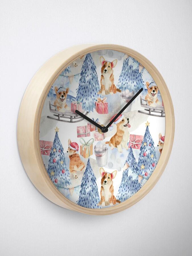 Alternate view of Merry Corgmess - Corgi Celebrating Christmas In Forest Pattern -  Clock