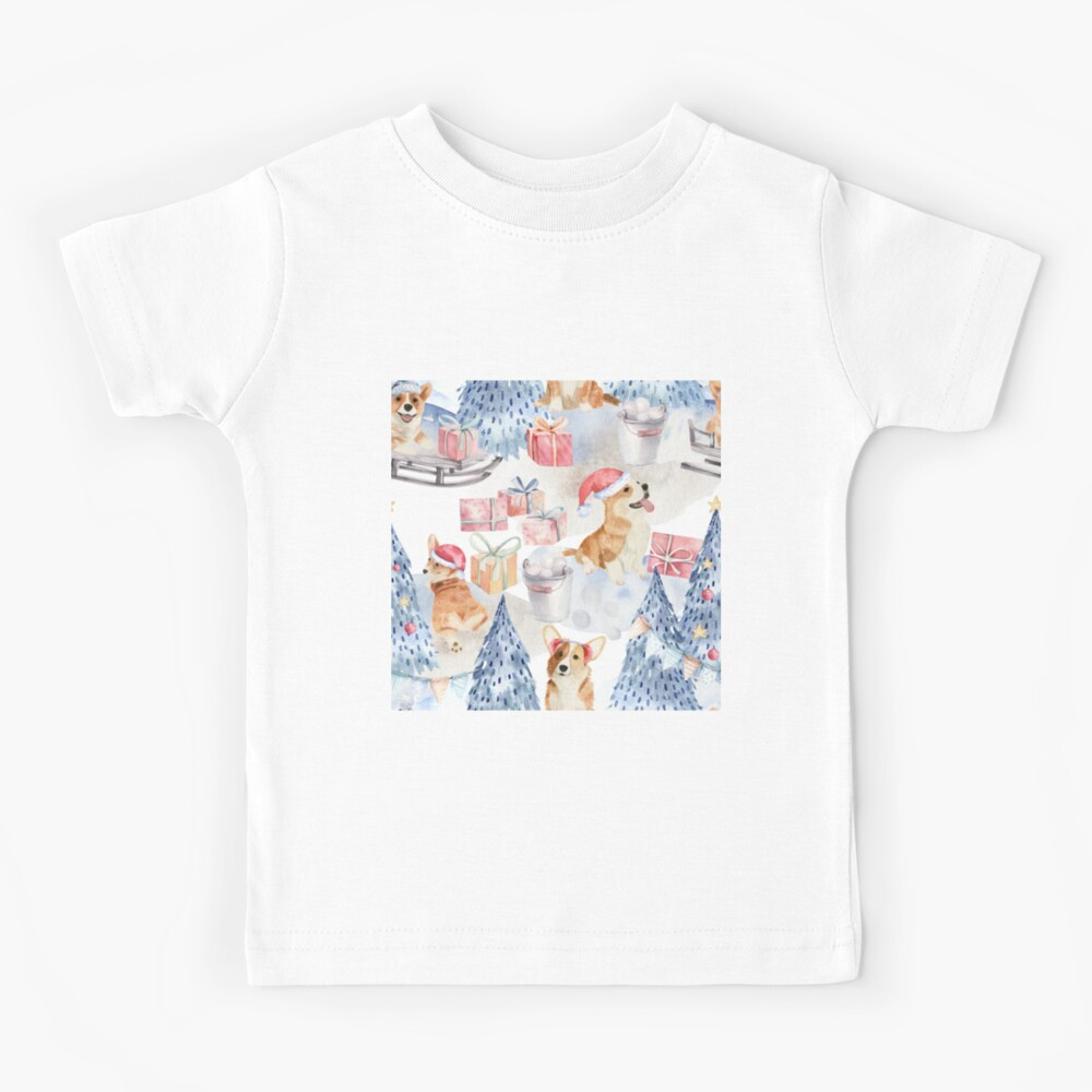 Merry Corgmess - Corgi Celebrating Christmas In Forest Pattern -  Kids T-Shirt