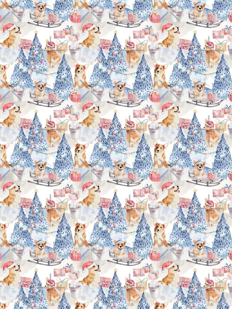 Merry Corgmess - Corgi Celebrating Christmas In Forest Pattern -  by Corgiworld