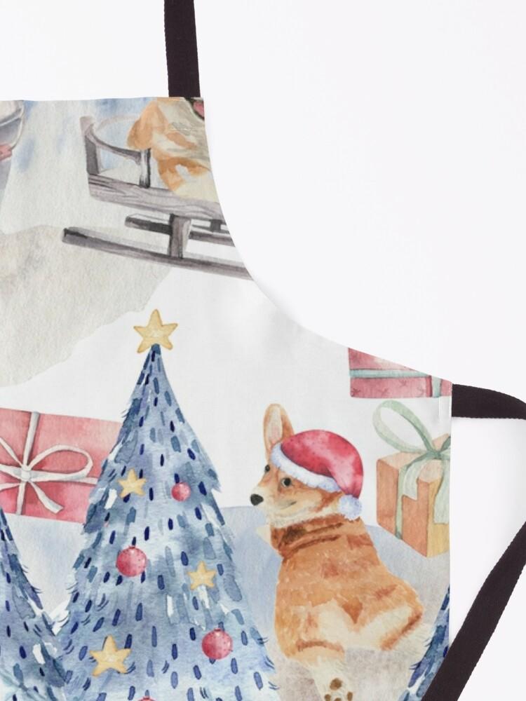 Alternate view of Merry Corgmess - Corgi Celebrating Christmas In Forest Pattern -  Apron