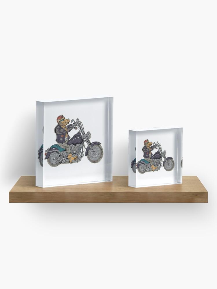 Alternate view of Boar motorcyclist. Acrylic Block