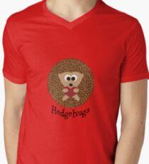 Camiseta de cuello en V Hedgehugs Brown Hedgehog abrazando un corazón rojo