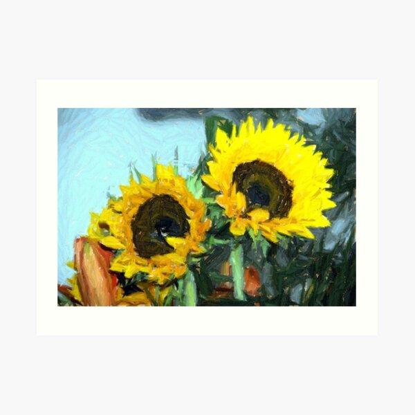 la peinture impressionniste de tournesol Art Print