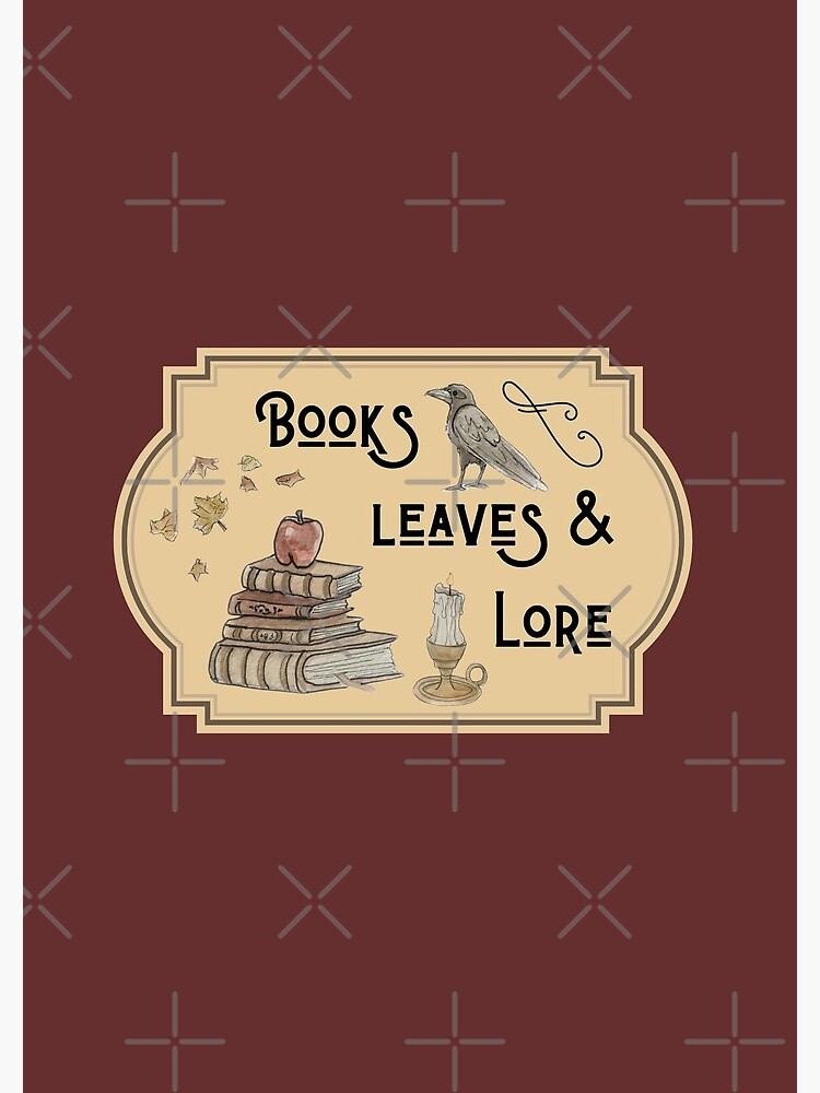 Books, Leaves, & Lore Emblem Illustration in Watercolor by WitchofWhimsy