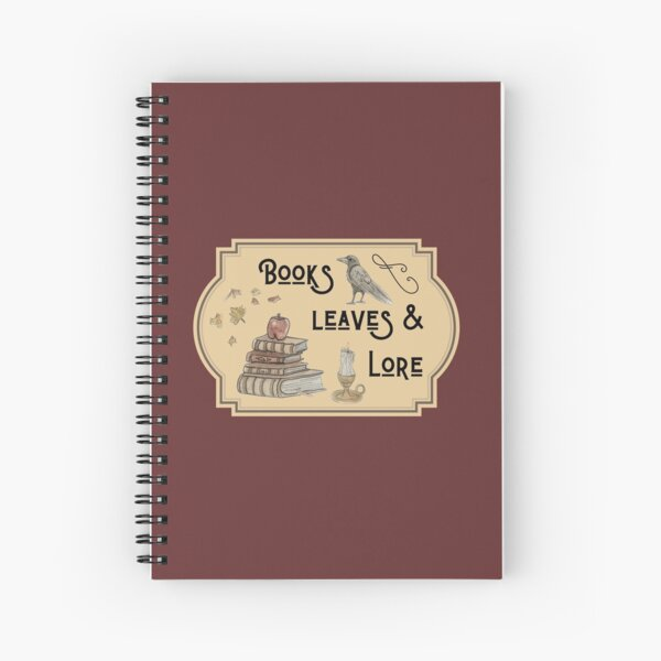 Books, Leaves, & Lore Emblem Illustration in Watercolor Spiral Notebook